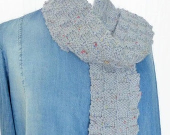 Gray hand knit scarf, neck scarf, scarf for men, muffler scarf, knitted neck wrap, winter scarf, ladies scarf, hand knit scarf, scarf UK