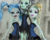 Gothic burlesque navy blue and black corset hand made fits Monster High doll