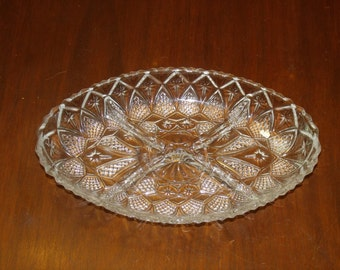 Vintage Serving Plate  4-Part Relish Serving Tray,  Glass Crystal