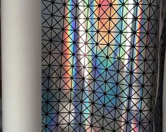 1.5cm Checker Silver Holographic Leather Fabric,Shiny PU Leather Fabric For Bags,Wallets,1mm Holographic Leather.Wide 54'' Sold By Half Yard
