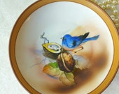 Elegant Footed Dish featuring Hand Painted Bird on a branch/ Nippon/Japan/ Morimura Bros/ c1920