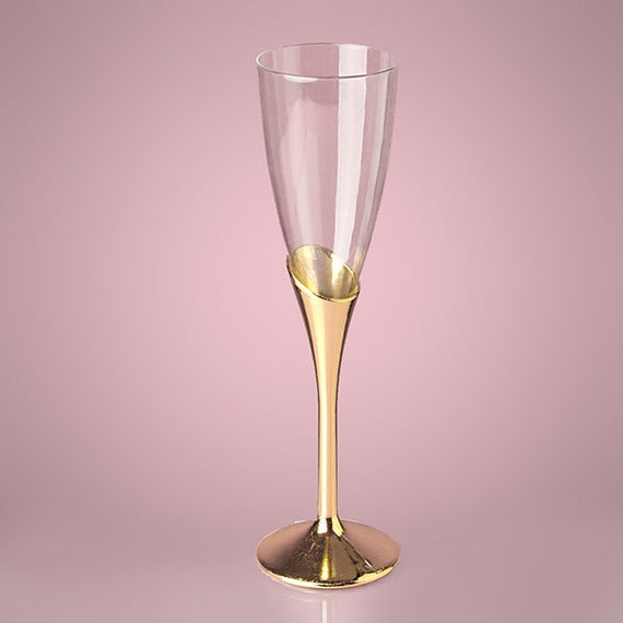 9 Gold Plastic Champagne Wine Flutes Glasses Party By