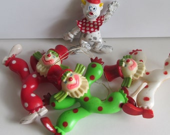 1960s Clowns 3 + 1 Free Polka Dot Clown Suit Plastic Clown decor Clown Birthday Party decor