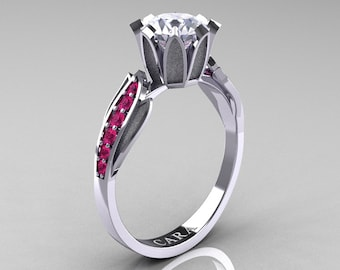 Cara 14K White Gold 1.0 Ct White Sapphire Pink Sapphire Solitaire Ring R423-14KWGPSWS