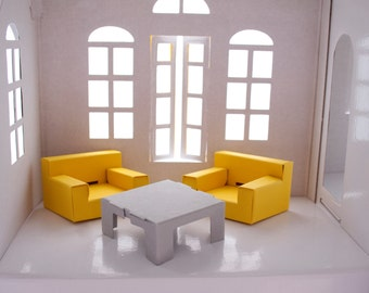 Paper Furniture Set: two arm chairs and coffee table