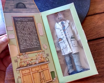 George Washington Carver Collectible Doll Boxed Toy:  vtg 70s Hallmark Famous American Series 1 cloth botanist inventor doll birthday gift