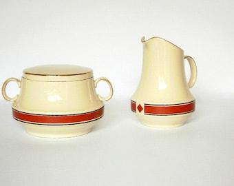 Vintage Sugar Bowl and Milk Jug. Sugar Bowl And Creamer Set. Elegant Art Deco Style. Cream and Maroon
