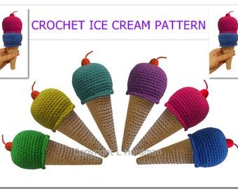 PRETEND ICE CREAM Crochet Pattern - pretend food, toy amigurumi,  sweet kawaii, toy rattle, mobile baby crochet pattern - Instant Download