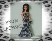 Topper DAWN Doll CLOTHES - Snow Leopard Gown Purse and Jewelry - Custom Fashion by dolls4emma