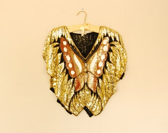 Sequin Butterfly Blouse - Late 1980s