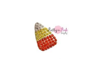 Candy Corn Rhinestone Button- You Choose Quantity- Halloween Rhinestone Center- Harvest Button- Slider- Rhinestone Embellishment