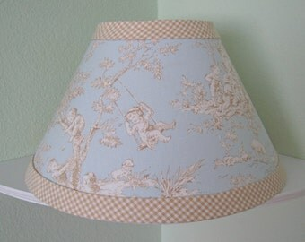 Central Park Toile Baby Nursery Lampshade / Available Colors: Blue, Horizon, Pink, Sage, Black, Lime, & Light Blue -- Custom Made