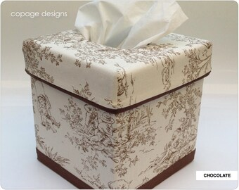 Central Park Toile Custom-Made Tissue Box Cover / Baby Nursery Accessories / Blue, Pink, Black, Sage, Horizon, Chocolate / Kleenex Box Cover