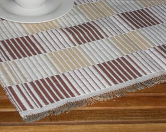 Hand woven placemat checked striped cotton vintage table topper
