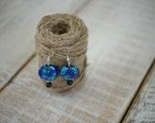 ON SALE - Jewelry Closeout Sale - Blue and Black Ocean Beaded Earrings - Handmade Silver Drop Earrings - Beaded Earrings
