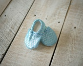 Blue Sequin Print Baby Shoes - Mushies Baby Shoes - Grippy Sole Baby Shoes - Fleece Lined Fabric Baby Shoes - Blue Metallic Baby Shoes