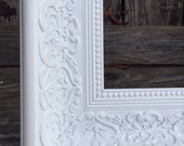 Ornate Picture Frame,  11x14,  White, Shabby Chic, Distressed ,Glass and Backings ,Wedding Frame, #1556 Bright White (Los Angeles)