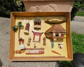 Vintage 16 Piece Miniature Japanese Moss Garden Village Unused SIP With Original Box
