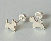 Westie Silver Post Earrings. stud earring
