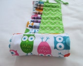 Owl Crayon Roll with Sixteen Crayola Crayons included- Ready to Ship