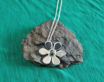 Silver Daisy  Connemara Marble Stone Pendant