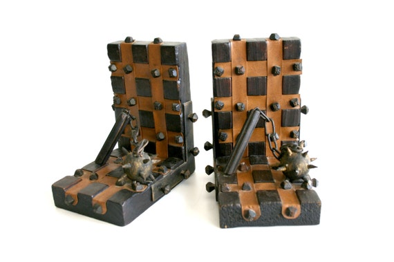 Gothic dungeon bookends flail and chain - Gothic bookends ...