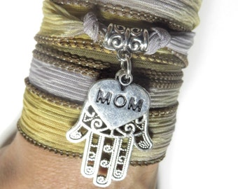 Mother's Day Hamsa Silk Wrap Bracelet Yoga Jewelry Bohemian Jewelry Boho Chic Silk Ribbon Wrap Wrist Band Yoga Mom Unique Birthday Gift