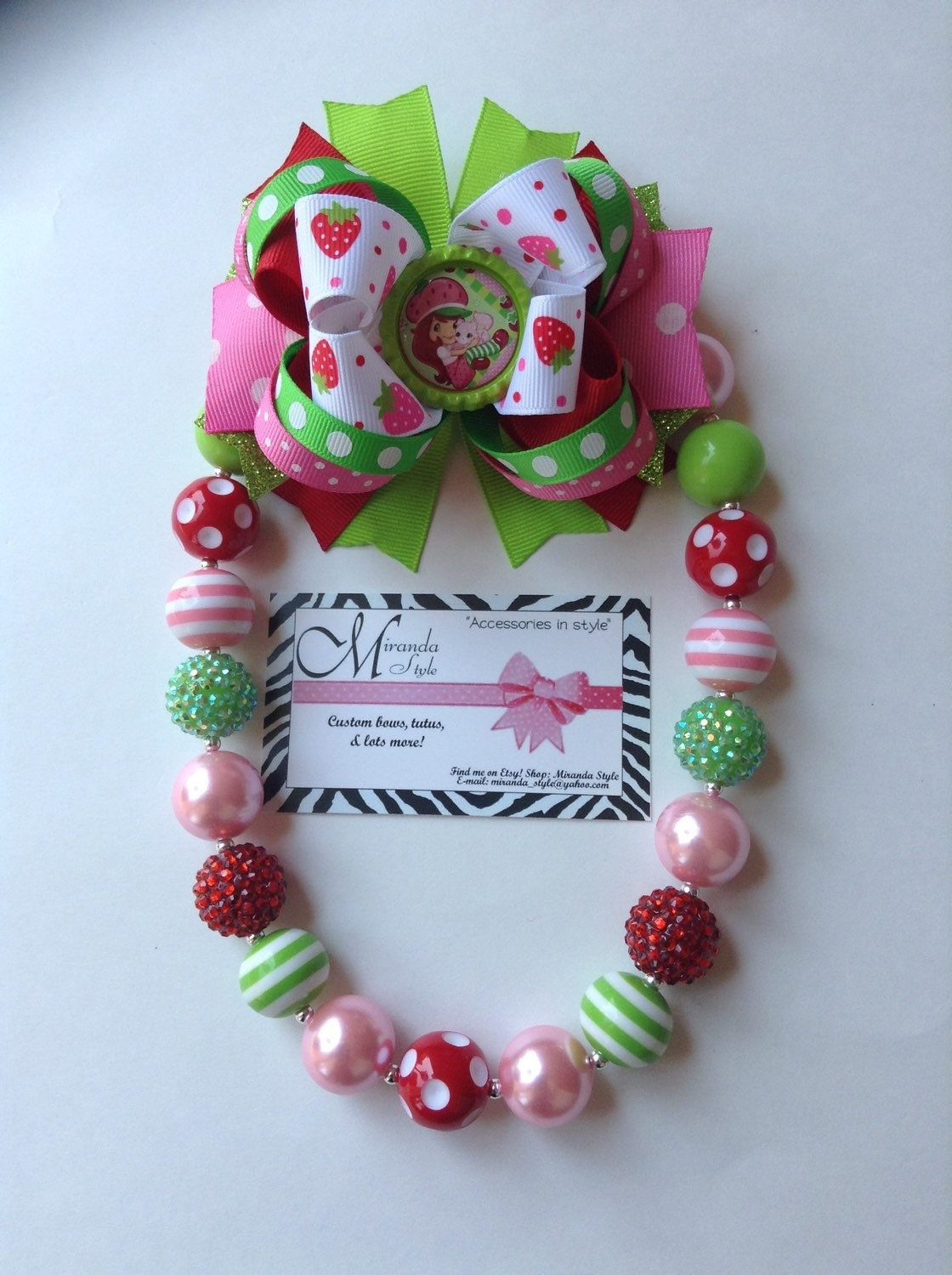 Strawberry shortcake chunky necklace bow and necklace set for Strawberry shortcake necklace jewelry