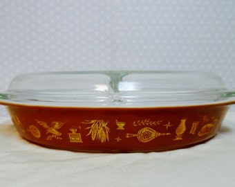 Vintage Pyrex Casserole, 1962 Early American Style 063, 1.5 Qts, Divided