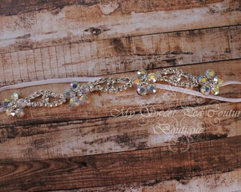 Floret Iridescent Luxe Couture Headband- Rhinestone Headband- Flower Headband- Bridal Headband- Rhinestone Halo-Flower Girl- Photo Prop