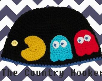 Crochet Pacman Pac-Man Inspired Arcade Hat Beanie