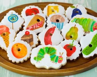 12 Vegan Caterpillar Themed Sugar Cookies