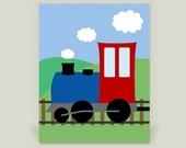 Train Engine Art Print, Train Room, Boy's Room, Steam Engine Transportation Artwork