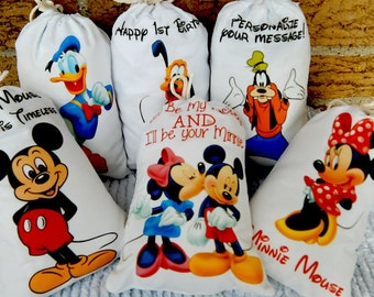"""Mickey Mouse and Friends Favor Bags Birthday Party or School events for Treat's or gift Can be personalized 5"""" X 7"""" or 6"""" X 8"""" Qty 6"""
