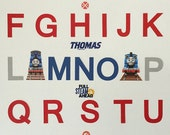 Handmade Thomas the Tank Engine Handmade Alphabet Poster - Red, Blue, Gray 11x14 unframed Boys Room Decor, Thomas the Train