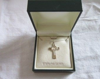 Vintage NOS Sterling Silver Cross with Love Loyalty Friendship 18 inc Chain MIB