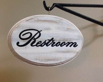 """Adorable Restroom sign (white) (5x7"""")"""