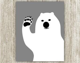 Bear Wall Art, 8x10, Instant Download, Bear Printable, Nursery Art Print, Nursery Decor, Kids Room, Childs Room Black White Gray Bear Poster