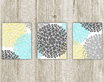 Chrysanthemum Printable, Flower Printable, Set of 3, 8x10, Instant Download, Chrysanthemum Art Print, Flower Wall Art, Yellow Blue Gray