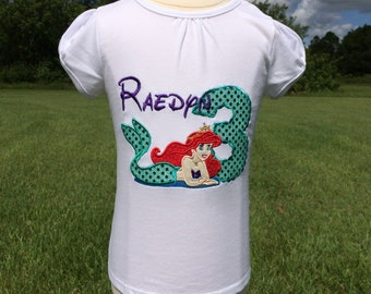ARIEL-The Little Mermaid Personalized EMBROIDERED Bodysuit or T-shirt