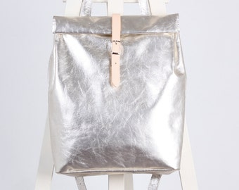 Silver leather backpack rolltop rucksack / To order