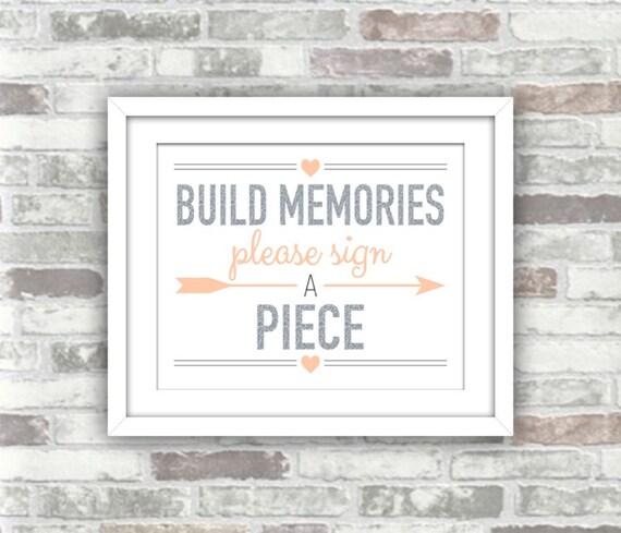 INSTANT DOWNLOAD - Printable Build Memories Silver Blush Wedding Sign - Building Blocks Guest Book Please Sign A Piece - Digital File