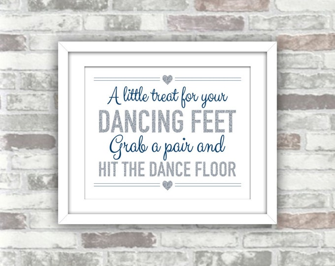 INSTANT DOWNLOAD - Printable Wedding Flip Flops Sign - A Little Treat For Your Dancing Feet - 8x10 - Navy Silver Glitter Effect Digital File