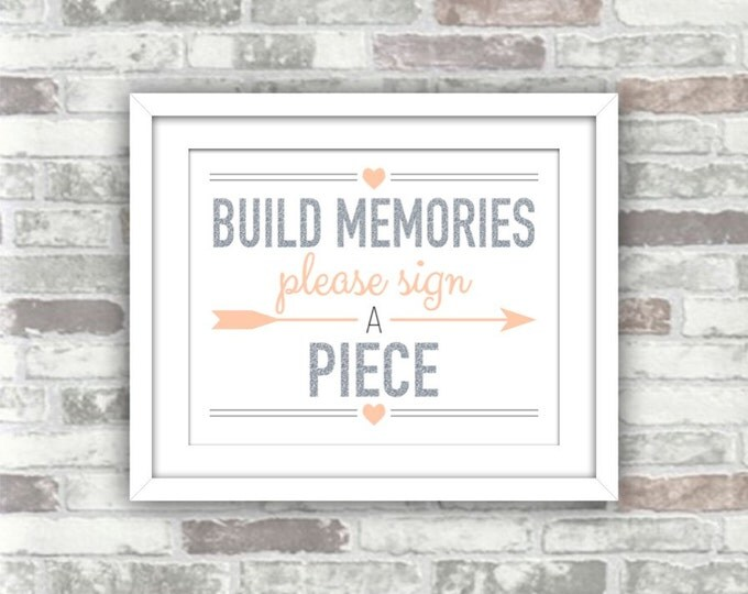 INSTANT DOWNLOAD - Printable Build Memories Silver Blush Wedding Sign - Building Blocks Guest Book Please Sign A Piece - Digital File
