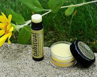 Organic Lip Balm Tube - LEMON COCONUT - Handmade & 100% Natural / Beeswax Chapstick