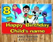 Teen Titans Go personalized birthday party banner  decoration backdrop milestone keepsake