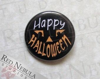 Happy Halloween Button, Jack o'Lantern Pin, Halloween Pinback Button, Orange Carved Pumpkin Face, Magnet, Keychain, Halloween Party Treat