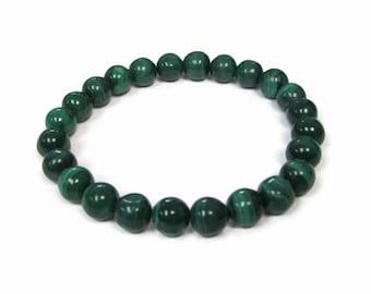 Malachite 8mm Stretch Bead Bracelet, Gemstone Stretch Bracelet, Stackable Beaded Bracelets