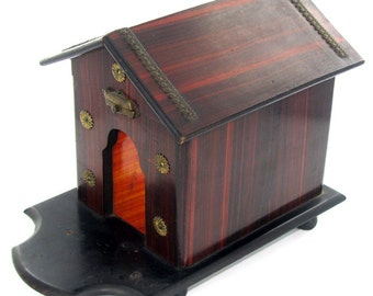Antique Victorian Mahogany Cigar Humidor in the shape of a Dog House