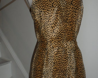vintage faux fur leopard cheetah dress bombshell dress small xtra small handcrafted appears 1960s wiggle dress